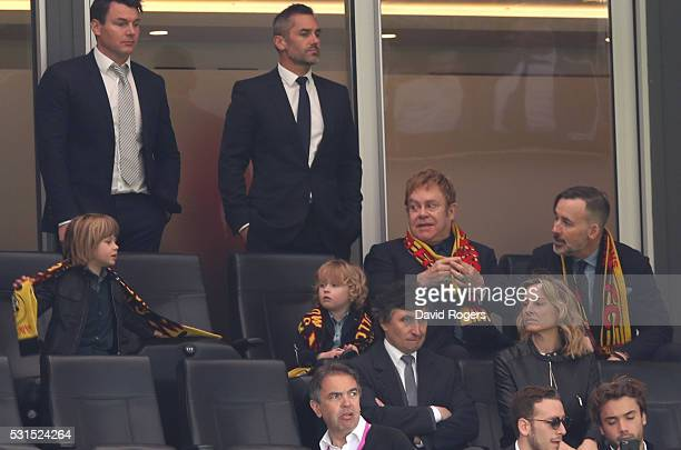 Sir Elton John is seen on the stand prior to the Barclays Premier League match between Watford and Sunderland at Vicarage Road on May 15 2016 in...
