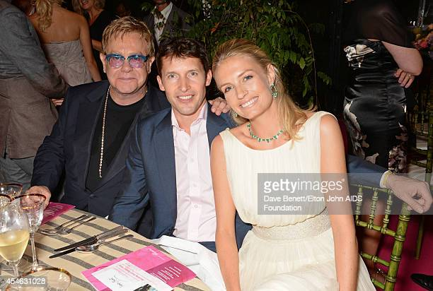 Sir Elton John, James Blunt and Sofia Wellesley attend the Woodside End of Summer party to benefit the Elton John AIDS Foundation sponsored by...