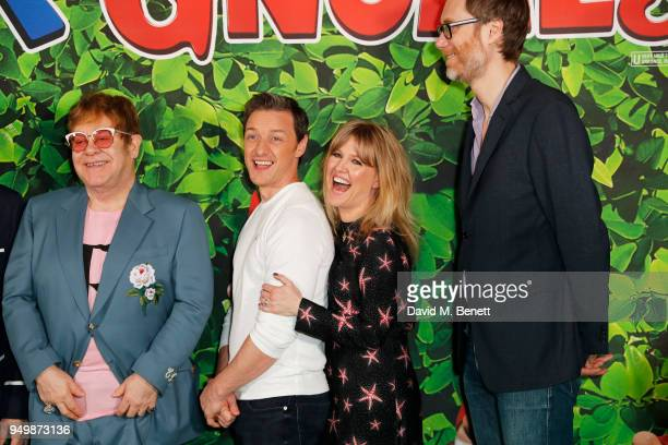 Sir Elton John James McAvoy Ashley Jensen and Stephen Merchant attend the Family Gala Screening of Sherlock Gnomes hosted by Sir Elton John and David...