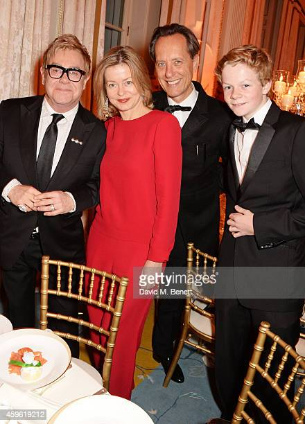 Sir Elton John Lady Helen Taylor Richard E Grant and Alexander Dundas attend the Louis Dundas Centre Dinner at the Mandarin Oriental Hyde Park on...