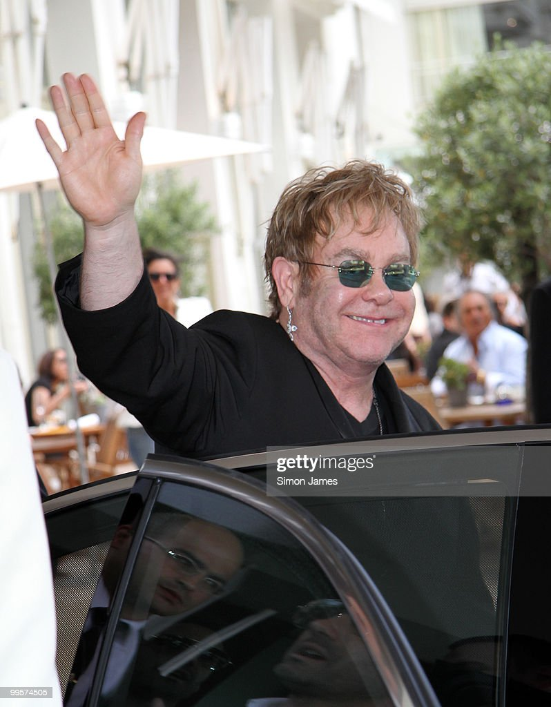 Sir Elton John leaves his hotel on May 15, 2010 in Cannes, France.