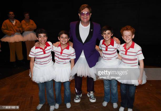 Sir Elton John makes a surprise appearance backstage with the four boys who play Billy Elliott; Omar Abiad, River Mardesic, Wade Neilsen and Jamie...