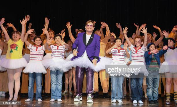 Sir Elton John makes a surprise curtain call appearance as he visits the cast of Billy Elliott The Musical at Lyric Theatre Star City on November 28...