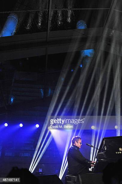 Sir Elton John performs at the Battersea Power Station Annual Party on April 30 2014 in London England