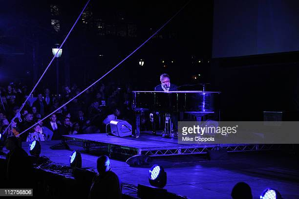 Sir Elton John performs during the opening night premiere of 'The Union' at the 2011 Tribeca Film Festival at North Cove at World Financial Center...