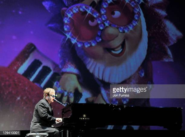 Sir Elton John performs on stage after the 'Gnomeo Juliet' premiere at Odeon Leicester Square on January 30 2011 in London England