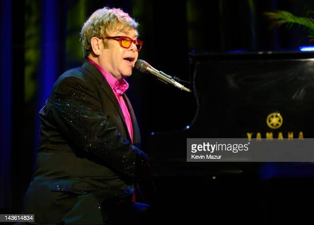 Sir Elton John performs on stage at the Breast Cancer Foundation's Hot Pink Party at Waldorf Astoria Hotel on April 30 2012 in New York City