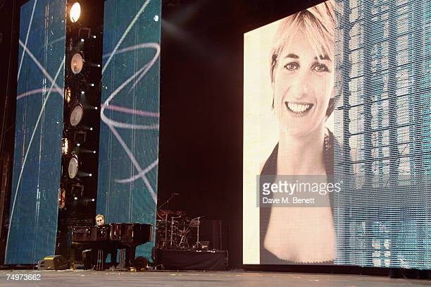 Sir Elton John performs on stage during the Concert For Diana at Wembley Stadium on July 1 2007 in London England The concert will mark the 10th...