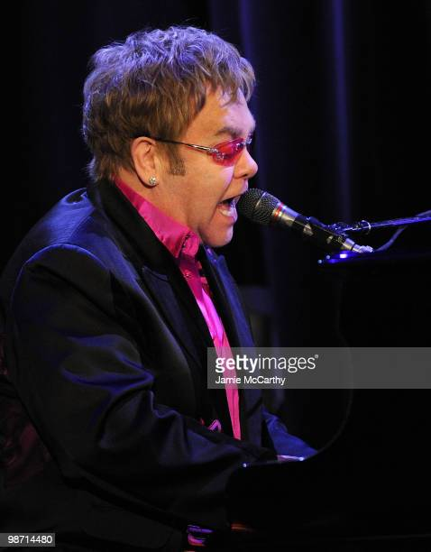 Sir Elton John performs onstage at the 2010 Breast Cancer Research Foundation's Hot Pink Party at The Waldorf=Astoria on April 27 2010 in New York...