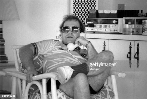 Sir Elton John pictured in the recording studio on the Island of Monstserrat 1982 talking to Watford Football club