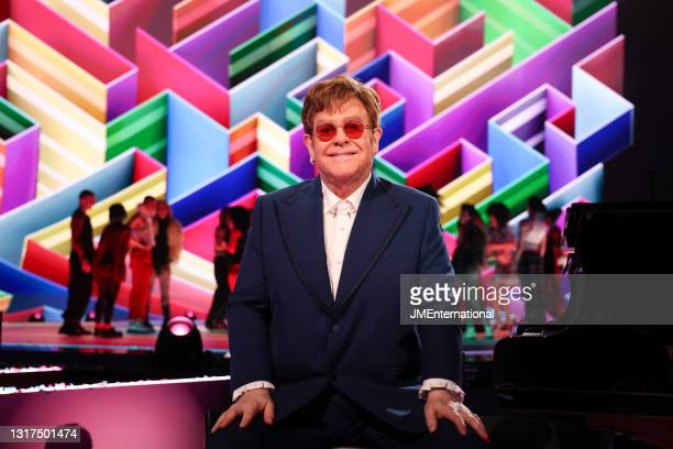 Sir Elton John poses during The BRIT Awards 2021 at The O2 Arena on May 11, 2021 in London, England.