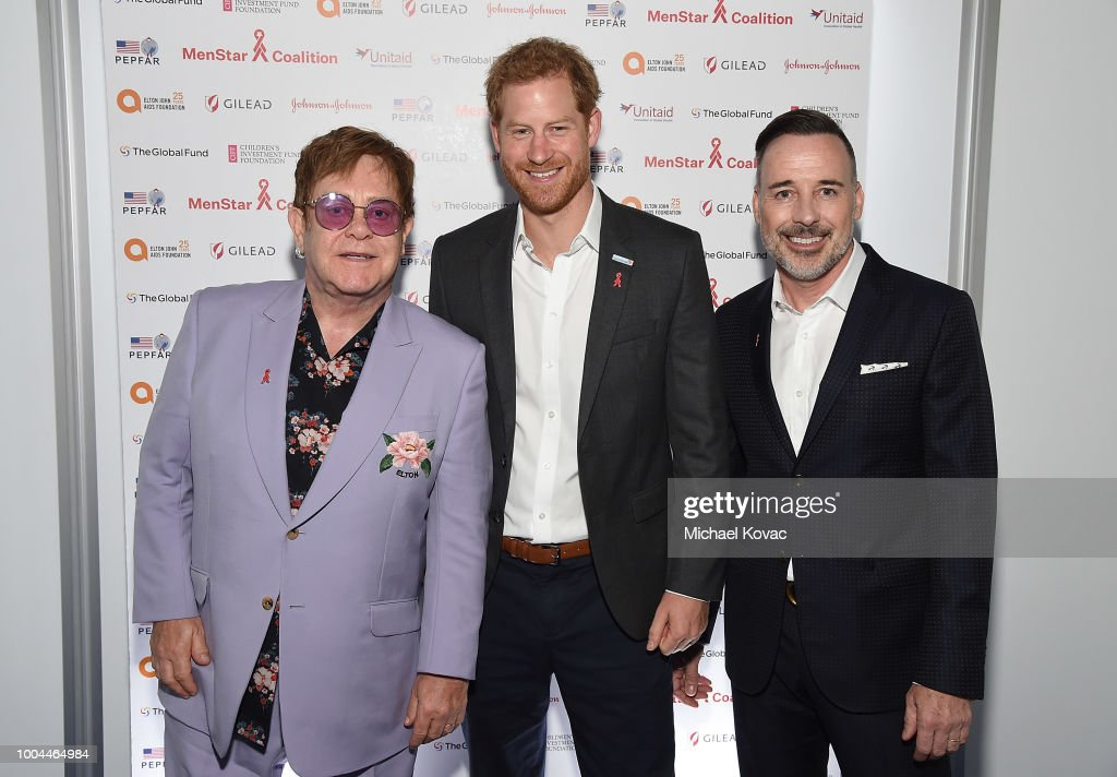 Sir Elton John, Prince Harry, Duke of Sussex, and David Furnish attend the Launch of the Menstar Coalition To Promote HIV Testing & Treatment of Men on July 24, 2018 in Amsterdam, Netherlands.