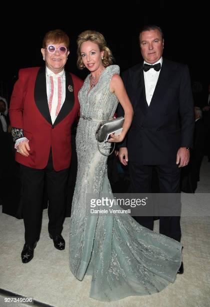 Sir Elton John Princess Camilla Duchess of Castro and Prince Carlo Duke of Castro attend Elton John AIDS Foundation 26th Annual Academy Awards...