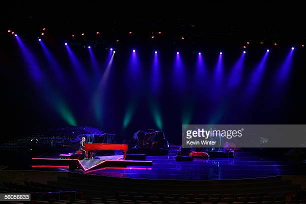 Sir Elton John records his contribution to the new disaster relief charity single a cover of the Sir Eric Clapton ballad 'Tears In Heaven' at Caesars...