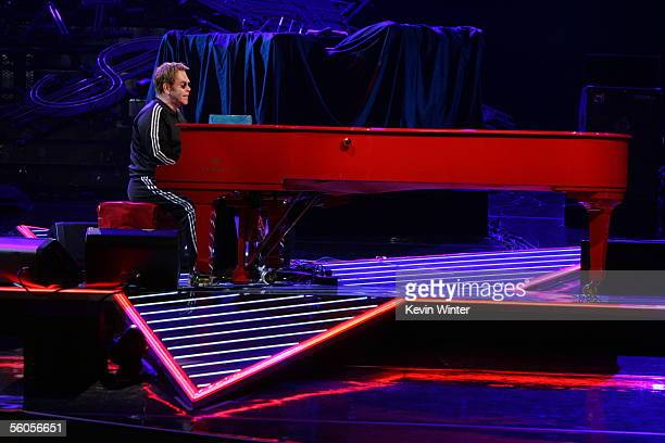Sir Elton John records his contribution to the new disaster relief charity single a cover of the Sir Eric Clapton ballad 'Tears In Heaven' at...