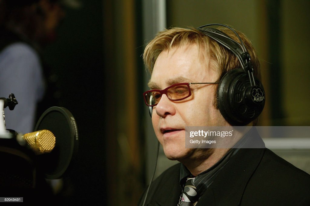 Sir Elton John records the charity cover of Eric Clapton's 'Tears In Heaven' Tsunami Relief Single at Whitfield Studios on January 20, 2005 in London. Other stars to contribute to the single will include Robbie Williams, Rod Stewart, Pink, Ozzy and Kelly Osbourne, Andrea Bocelli, Gwen Stefani, Gavin Rossdale, Robert Downey Jr., Phil Collins, Josh Groban and Aerosmith's Steve Tyler. The single is an initiative of Sharon Osbourne, and proceeds will go to benefit aid organization Save the Children's operations in tsunami-affected regions.