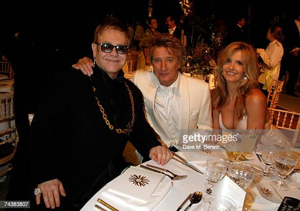 Sir Elton John Rod Stewart and Penny Lancaster attend the Raisa Gorbachev Foundation Party at Stud House Hampton Court Palace on June 2 2007 in...