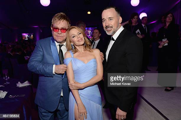 Sir Elton John singer Kylie Minogue and David Furnish attend the 23rd Annual Elton John AIDS Foundation Academy Awards Viewing Party on February 22...