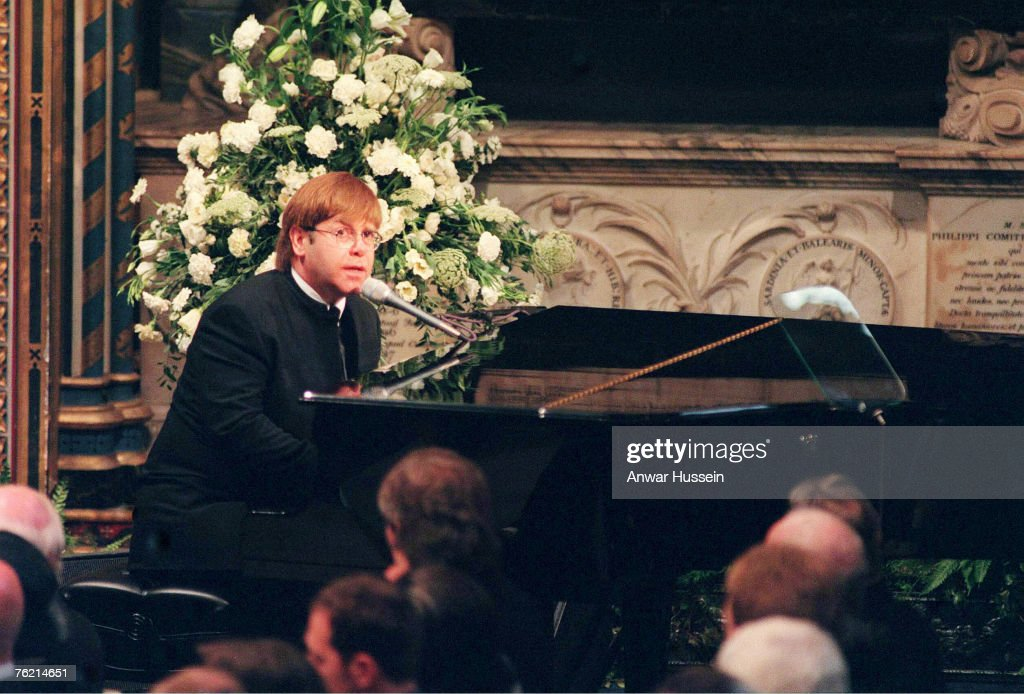 Sir Elton John sings 'Candle In The Wind' at the funeral of Diana, Princess of Wales on September 6, 1997.