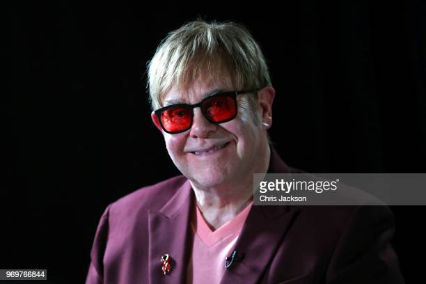 Sir Elton John smiles during a lecture on 'The Diana Princess of Wales Lecture on HIV' at French Institute South Kensington on June 8 2018 in London...