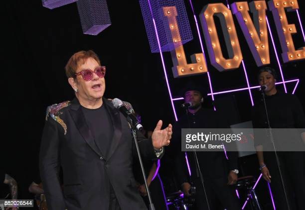 Sir Elton John speaks at CLUB LOVE for the Elton John AIDS Foundation in association with BVLGARI on November 29 2017 in London England