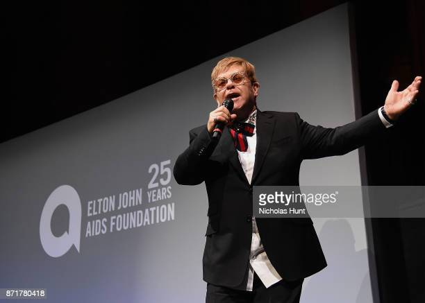 Sir Elton John speaks at the Elton John AIDS Foundation Commemorates Its 25th Year And Honors Founder Sir Elton John During New York Fall Gala Inside...