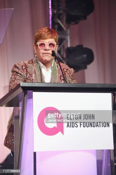 Sir Elton John speaks during the 27th annual Elton John AIDS Foundation Academy Awards Viewing Party sponsored by IMDb and Neuro Drinks celebrating...