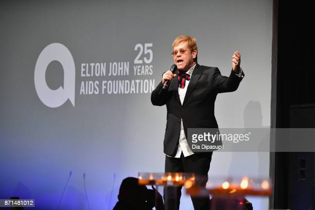 Sir Elton John speaks onstage at the Elton John AIDS Foundation 25th Year And Honors Founder Sir Elton John During New York Fall Gala Show at...