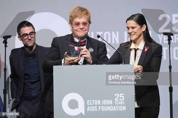 Sir Elton John speaks onstage at the Elton John AIDS Foundation Commemorates Its 25th Year And Honors Founder Sir Elton John During New York Fall...