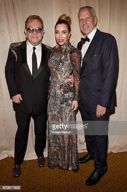Sir Elton John Steve Tisch and Katia Francesconi attend 15th Annual Elton John AIDS Foundation An Enduring Vision Benefit at Cipriani Wall Street on...
