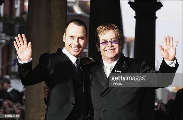 Sir Elton John weds longtime partner David Furnish at Windsor Guildhall In Windsor, United Kingdom On December 21, 2005-British pop star Sir Elton...