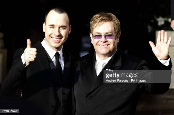 Sir Elton John with his partner David Furnish outside the Guildhall in Windsor Wednesday December 21 after their civil partnership ceremony See PA...