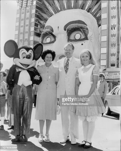 Sir Eric and Lady Willis with Alice in Wonderland and Mickey MouseThe advance party for Disney on Parade was at Luna Park this afternoon to meet the...