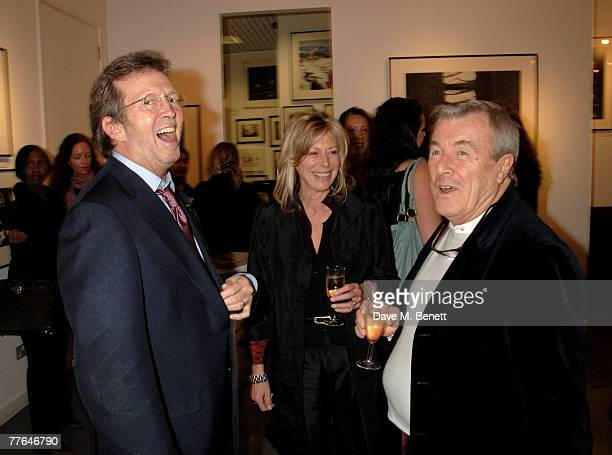 Sir Eric Clapton with Lorraine Ashton and Terry O'Neill attend a private view of photographs dedicated to Sir Eric Clapton to celebrate his latest...