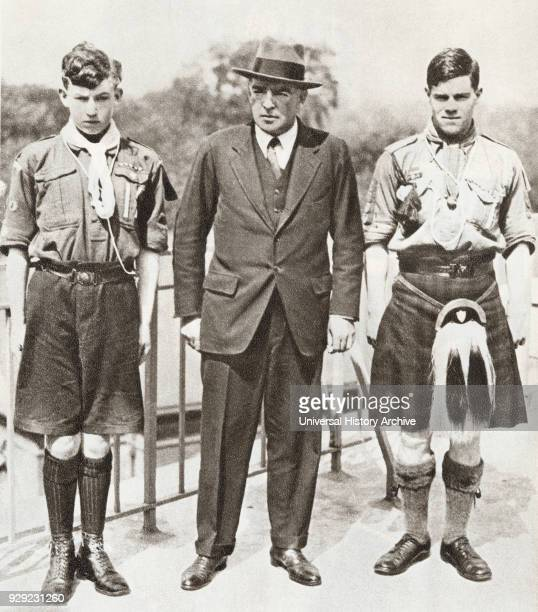 Sir Ernest Henry Shackleton seen here with the two boy scouts, Norman Mooney and James William Slessor Marr , who accompanied him on the...