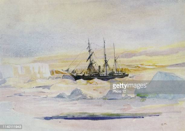 Sir Ernest Shackleton's ship the Nimrod among the ice in McMurdo's Sound the winter land quarter of the British Antarctic Expedition