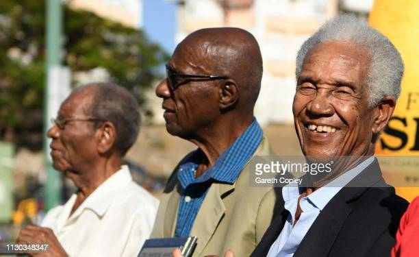 Sir Everton Weekes Sir Wes Hall and Sir Garfield Sobers during a presentation in the interval of the One Day Tour Match between England and The...