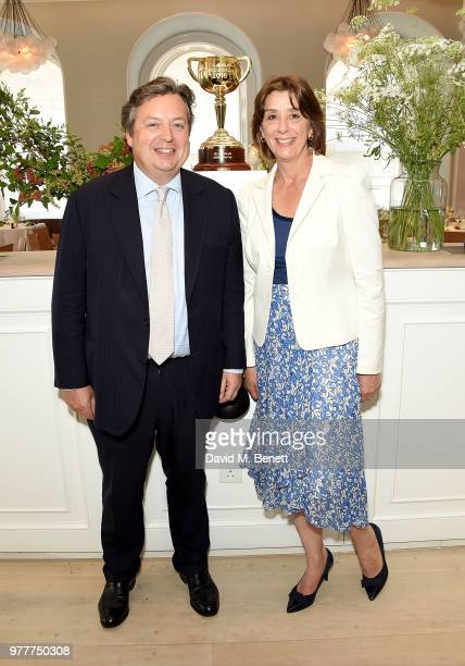 Sir Francis and Lady Melissa Brooke attend the Victoria Racing Club lunch celebrating the Melbourne Cup Carnival's global significance on the eve of...