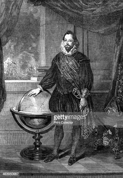Sir Francis Drake 16thcentury navigator sailor and pirate Portrait of the Elizabethan naval hero Drake who defeated the Spanish Armada A print from...