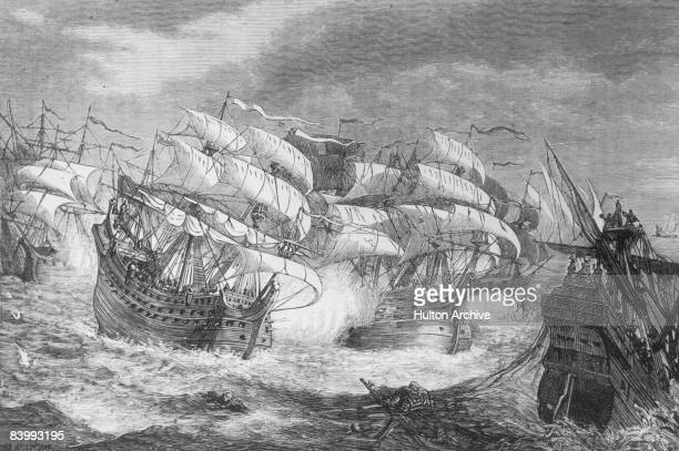 Sir Francis Drake attacks a Spanish treasure ship circa 1580 By W B Gardner