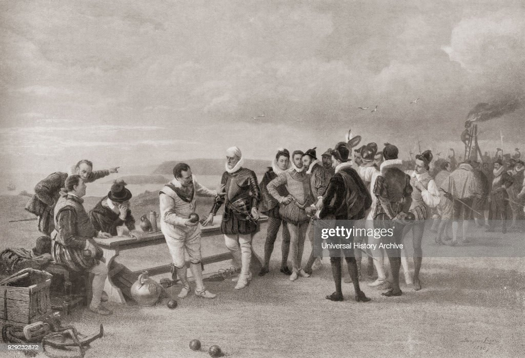 Sir Francis Drake playing bowls, with the Spanish Armada in sight at Plymouth Hoe, England in 1588 : News Photo