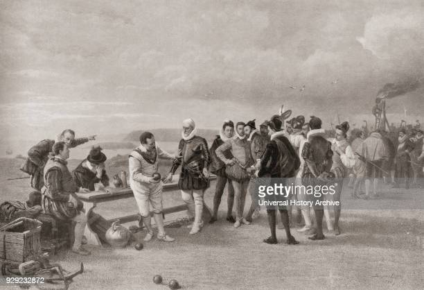 Sir Francis Drake playing bowls with the Spanish Armada in sight at Plymouth Hoe England in 1588 The story has it that when told of the arrival of...