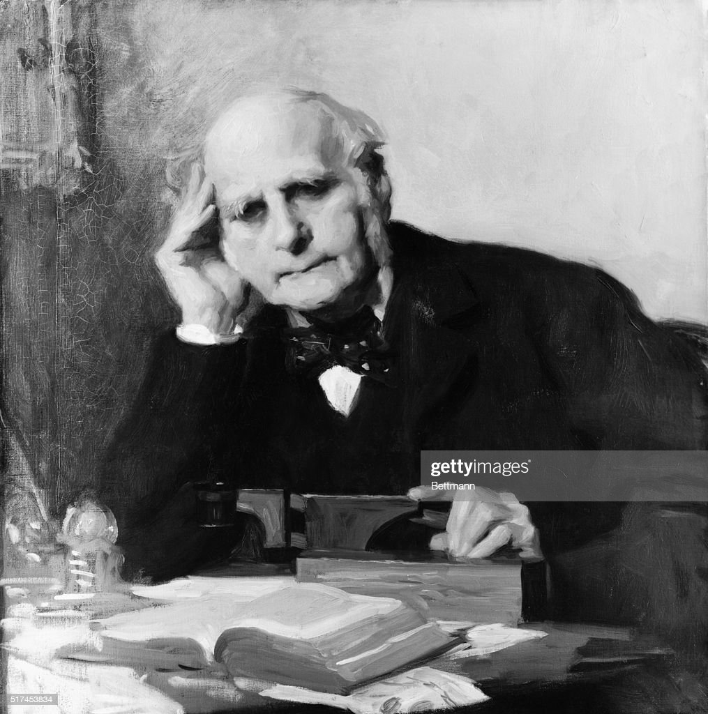 Painting of Scientist Sir Francis Galton at Work : News Photo