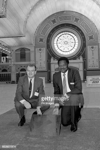 Sir Frank Gibb chairman and chief executive of TaylorWoodrow and Cllr Vernon King Chairman of the Borough of Haringey's Alexandra Palace and Park...