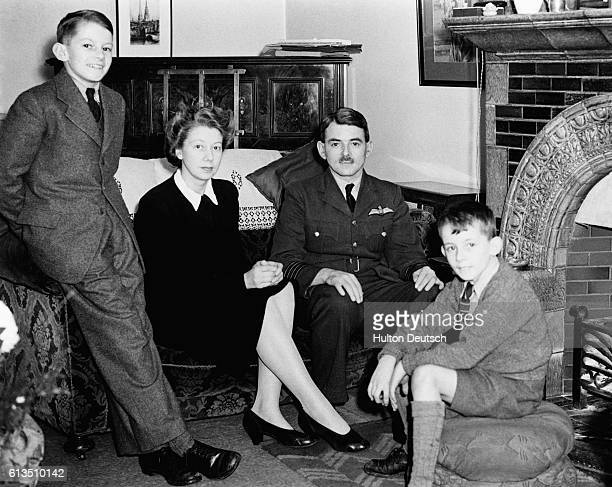 Sir Frank Whittle the English aeronautical engineer and inventor of the jet engine at home with his family