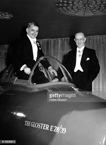 Sir Frank Whittle the inventor of the first jet engine with WG Carter inventor of the first jet plane the Gloster E28/39 at the Dorchester Hotel for...