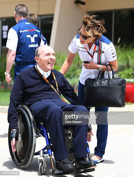 Sir Frank Williams the team principal of Williams speaks with his daughter, Williams Deputy Team Principal Claire Williams during final practice for...