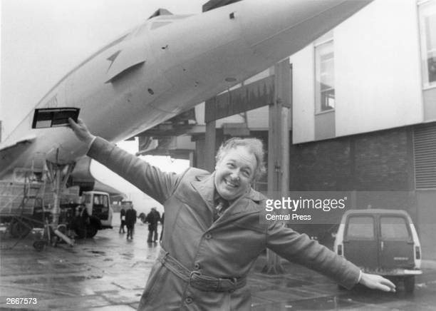 Sir Frederick Alfred Laker known as Freddie Laker the British industrialist and business executive who started 'Laker Airways' cavorting in front of...