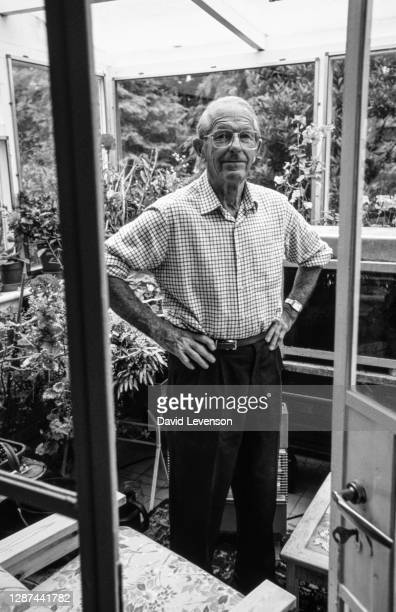 Sir Frederick Sanger poses for a portrait at home in Swaffham Bulbeck, Cambridgeshire on August 4, 1993. Sir Frederick won the Nobel Prize for...