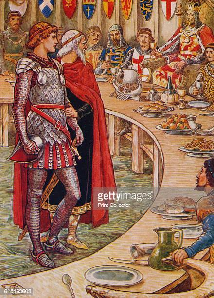 Sir Galahad is brought to the Court of King Arthur' 1911 How the three good knights achieved the Holy Grail From Stories of the Knights of the Round...
